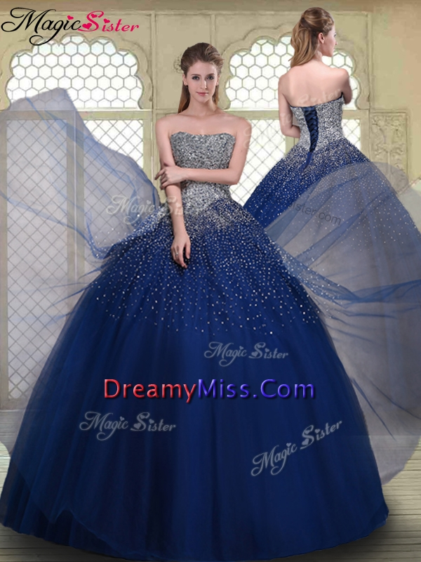 2016 Spring Gorgeous Ball Gown Strapless Quinceanera Gowns in Navy Blue