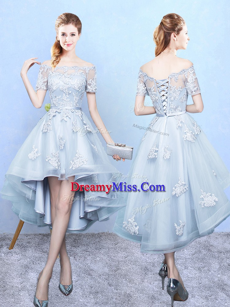 Light Blue A-line Off The Shoulder Short Sleeves Tulle High Low Lace Up Lace Court Dresses for Sweet 16
