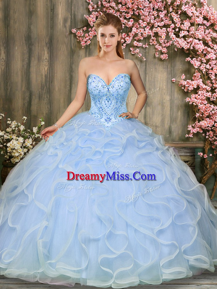 Fantastic Sleeveless Tulle Floor Length Lace Up Vestidos de Quinceanera in Light Blue with Beading and Ruffles