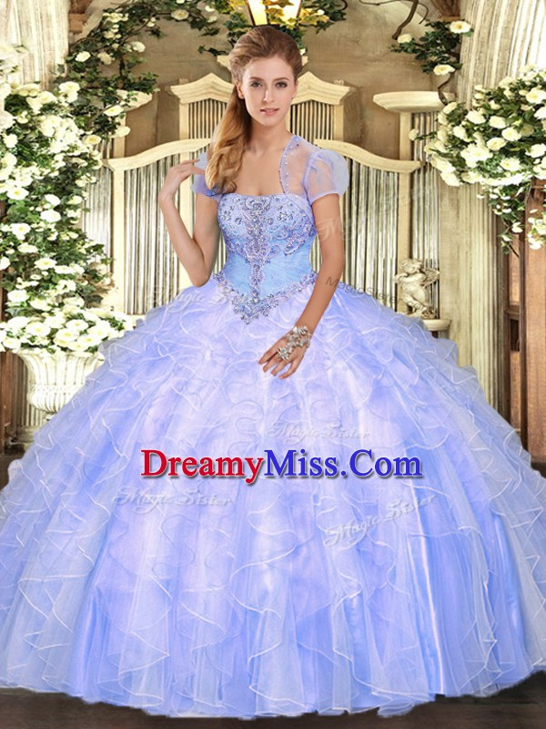 Strapless Sleeveless Quinceanera Gowns Floor Length Appliques and Ruffles Light Blue Tulle