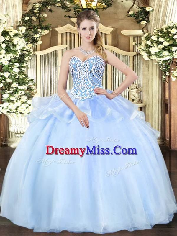 Sweetheart Sleeveless Lace Up 15 Quinceanera Dress Light Blue Organza