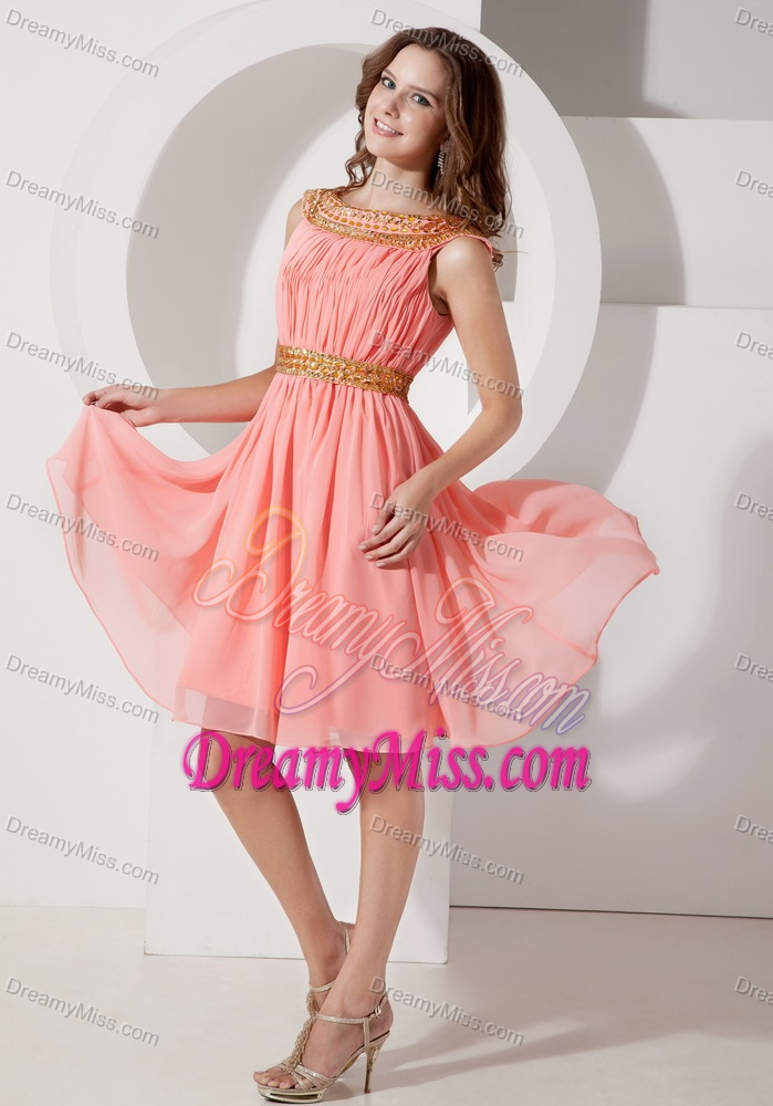 Bateau Watermelon Knee-length Ruched Chiffon Casual Party Dresses ...