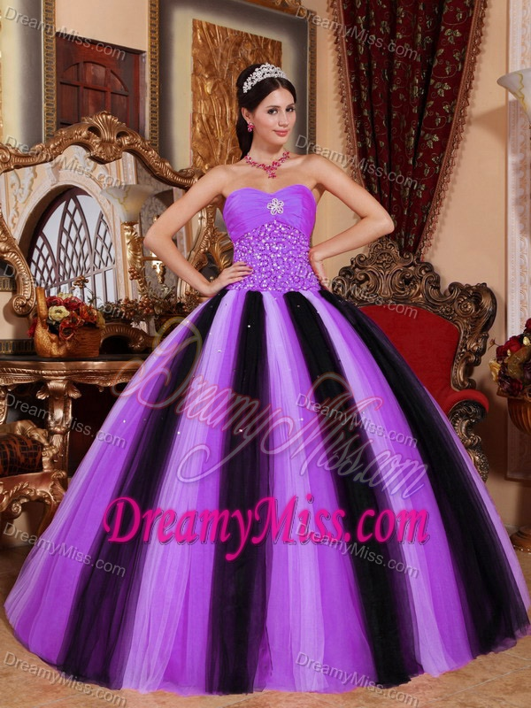 Charming Multi-color Sweetheart Beaded and Ruched Dress for Quinceanera
