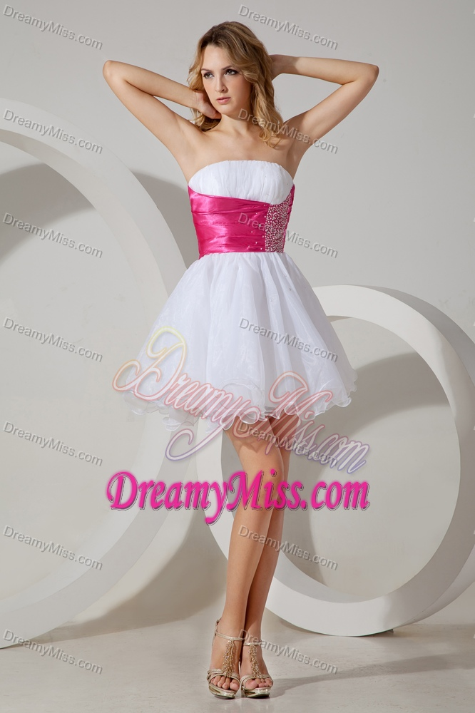 White and Pink Mini-length Beaded Strapless Prom Dress for Cocktail
