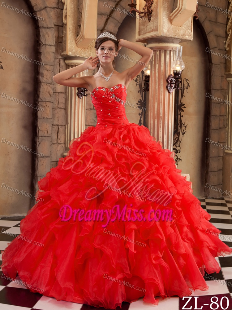 Sweetheart Long Ruffled Sweet Sixteen Quinceanera Dress In Red