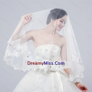 2014 Two Tier Tulle Lace Appliques Edge Bridal Veils
