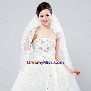 Elegant One Tier Oval Elbow Veils with Lace Edge