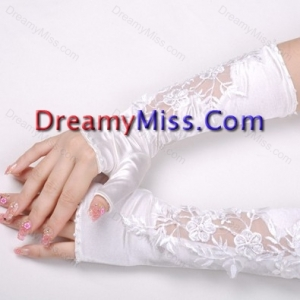 Elegant Satin Fingerless Elbow Length Bridal Gloves with Lace Appliques