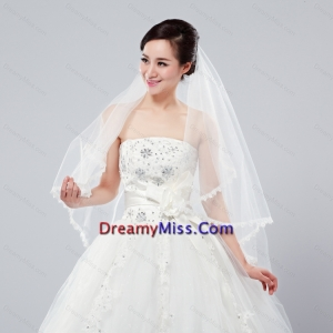 Graceful One Tier Lace Edge Elbow Veils for Wedding Party