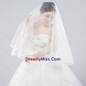Two Tier Tulle Bridal Veils with Ribbon Edge
