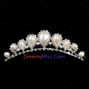 Popular Tiara With Rhinestone and Big Imitation Pearl Decorate