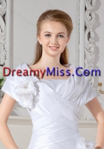 Beautiful White Short Sleeves Wedding Jacket With Hand