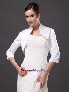1/2 Sleeves Classical High-neck Satin Jacket For Wedding and Other Occasion