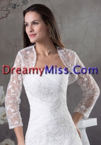White Long Sleeves Jacket With Lace