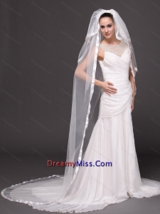 3 Layers and Appliques Ball Gown Bridal Veils For Wedding
