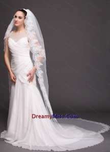 Bridal Veils For Wedding With Two Tier Lace