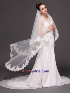 Lace Over Bridal Veil Two Tier For Wedding
