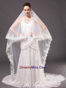 Romantic One Tier Cathedral Wedding Veil With Lace Applique Edge