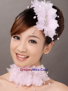 Stylish Organza Pink Imitation Pearls Special Occasion Fascinators