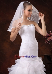 Taffeta Trim Edge Discount Tulle Bridal Veils For Wedding