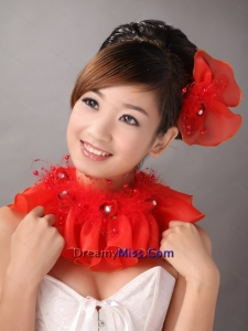 Red Organza Hearpices with Imitation Feather Rhinestones Decorate