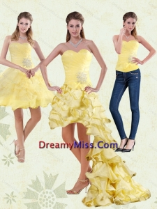 2015 Yellow Sweetheart High Low Prom Dress with Beading and Ruffled Layers