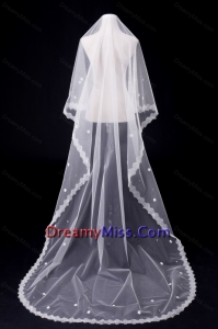 One Tier Oval Lace Edge Bridal Veils for Wedding Party