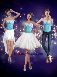 2015 Detachable Embroidery Sweetheart Prom Skirts in White and Blue