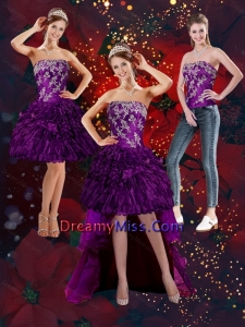 2015 Detachable Purple Strapless Prom Skirts with Embroidery and Ruffles