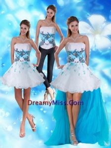 2015 Detachable Strapless White and Blue Prom Skirts with Appliques and Beading