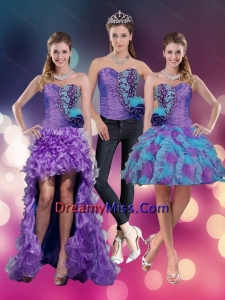 2015 Detachable Sweetheart Beading Multi Color Prom Skirts with Hand Made Flower