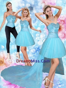 Detachable High Low Sweetheart Beading Prom Skirts in Baby Blue