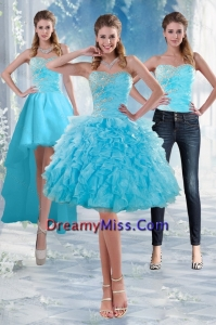 2015 etachable Sweetheart Baby Blue Prom Skirts with Appliques and Ruffles