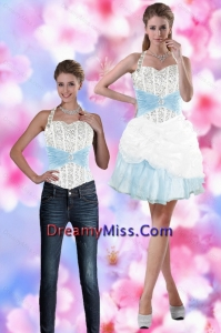 Detachable 2015 Halter Top Prom Skirts with Beading and Pick Ups