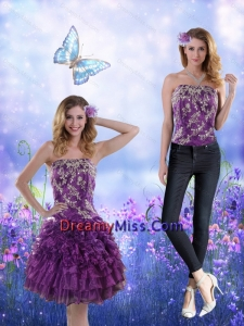 Detachable 2015 Strapless Purple Prom Skirts with Appliques and Ruffles