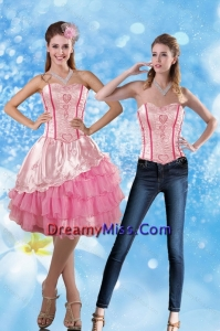 Affordable 2015 Sweetheart Embroidery Prom Skirts in Rose Pink