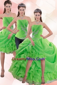 Detachable Strapless Spring Green Prom Skirts with Appliques and Ruffles
