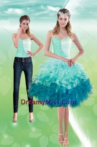 Detachable Sweetheart Multi Color 2015 Prom Skirts with Beading and Ruffles