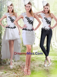 2015 Detachable Column Sweetheart White Prom Skirts with Black Appliques