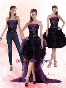 2015 Detachable Multi Color Beading and Ruffles Strapless Knee length Prom Skirts