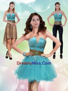 Detachable Aqua Blue Leopard Printed 2015 Prom Skirts with Beading