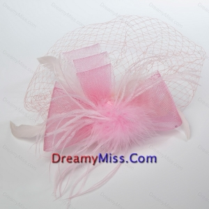 Pretty Pink Feather Tulle Net Yarn Briadl Hat
