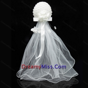 Simple Organza White Fascinators for Wedding