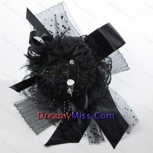 Black Rhinestone Feather Hair Ornament for Imitation Pearls