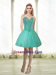 Beautiful 2015 Beading and Appliques Sweetheart Dama Dress in Turquoise