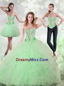 2015 Fashionable Beading and Ruffles Sweetheart Quinceanera Dresses in Apple Green