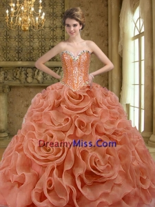 2015 Elegant Beading and Rolling Flowers Rust Red Quinceanera Dresses