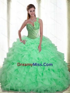Perfect Beading and Ruffles Apple Green 2015 Quinceanera Dresses with Sweetheart