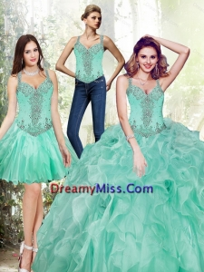 Gorgeous Beading and Ruffles Quinceanera Dresses in Apple Green