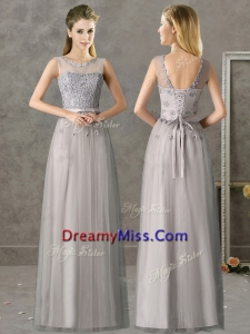 Cheap See Through Scoop Grey Long Prom Dress with Appliques